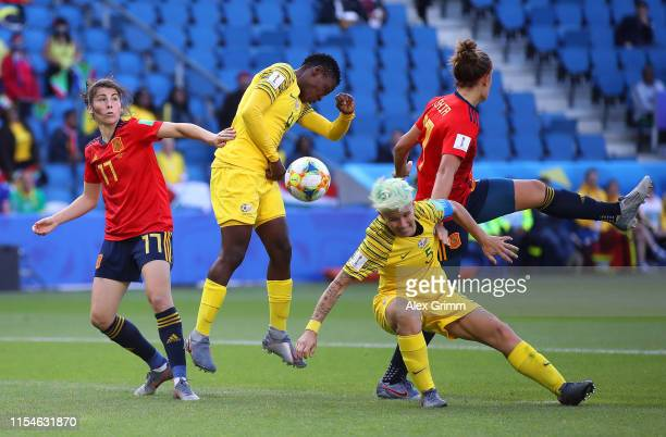 Lucia Garcia and Alexia Putellas of Spain battle for possession with Janine Van Wyk and Noko Matlou of South Africa during the 2019 FIFA Women's...