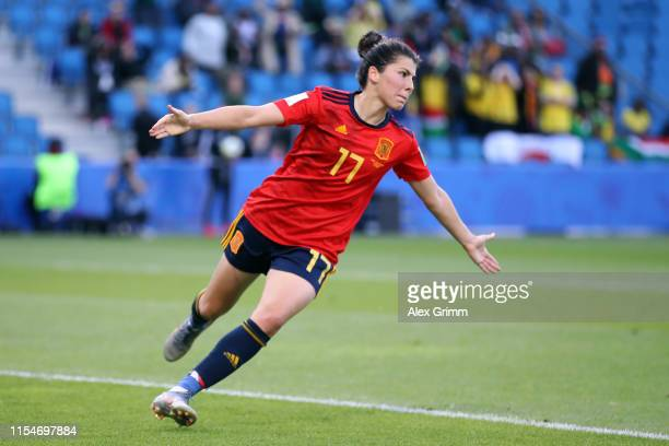 Lucia Garcia of Spain celebrates after scoring her team's third goal during the 2019 FIFA Women's World Cup France group B match between Spain and...