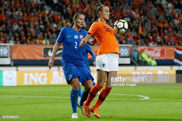 Lucia Harsanyova of Slovakia Women Jill Roord of Holland Women during the World Cup Qualifier Women match between Holland v Slovakia at the Abe...
