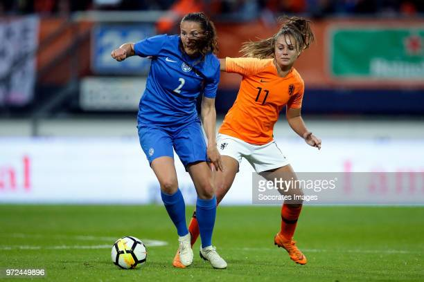 Lucia Harsanyova of Slovakia Women Lieke Martens of Holland Women during the World Cup Qualifier Women match between Holland v Slovakia at the Abe...