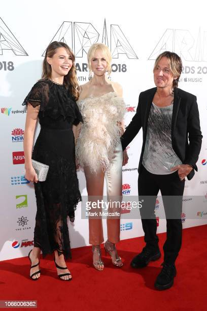 Lucia Hawley Nicole Kidman and Keith Urban arrive for the 32nd Annual ARIA Awards 2018 at The Star on November 28 2018 in Sydney Australia