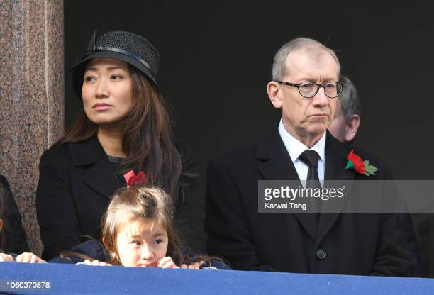 Lucia Hunt and Philip May attend the annual Remembrance Sunday memorial at The Cenotaph on November 11 2018 in London England The Armistice ending...