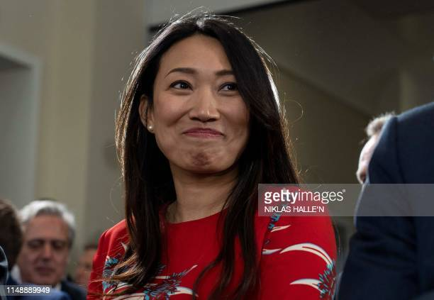Lucia Hunt, wife of Britain's Foreign Secretary Jeremy Hunt, attends the launch of her husband's Conversative party leadership campaign in London on...