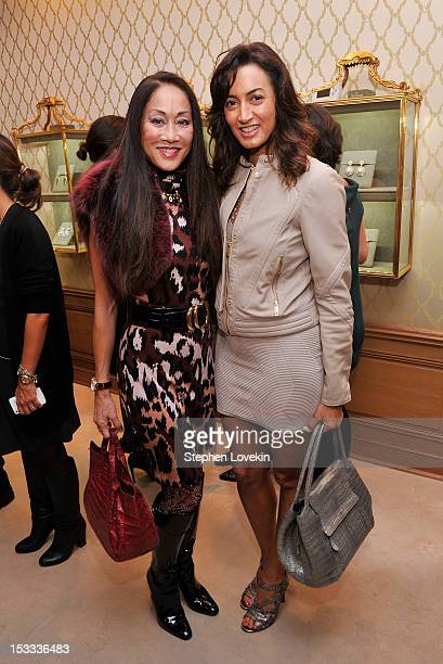Lucia Hwong Gordon and Maria Buccellati attend a cocktail reception for Tracy Paul And Company Presenting Buccellati's Pendant Earring Collection...