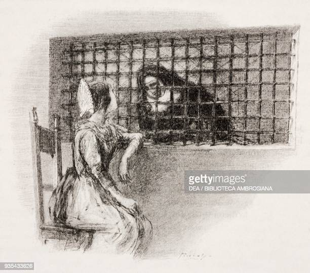 Lucia in the parlor with Gertrude, the Nun of Monza, illustration by Gaetano Previati , from The Betrothed, A Milanese story of the 17th century,...