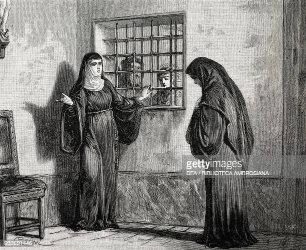 Lucia in the parlour with the nun of Monza, scene from The Betrothed by Alessandro Manzoni, illustration from the weekly Rivista Illustrata , No 230,...