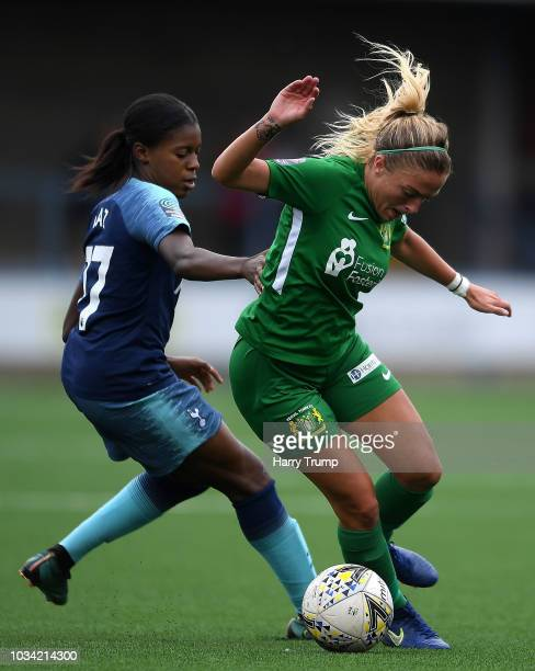 Lucia Leon of Tottenham Ladies is tackled by Megan Alexander of Yeovil Town Ladies during the FA Women's League Cup match between Yeovil Town Ladies...