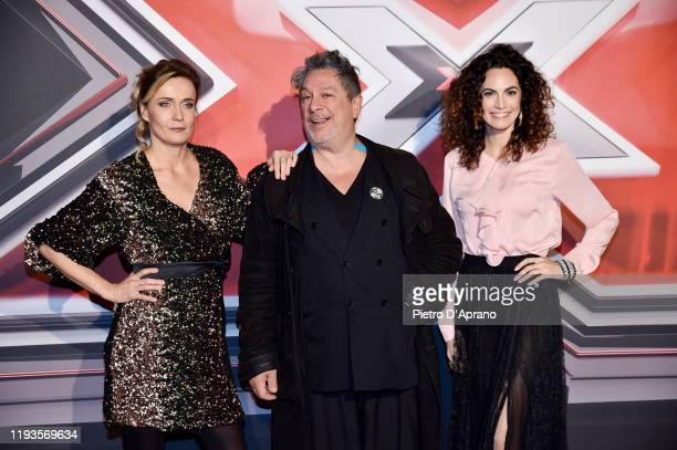 Lucia Mascino Michele Di Mauro and Enrica Guidi attend the photocall of the X Factor 2019 Final at Mediolanum Forum of Assago on December 12 2019 in...