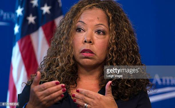 Lucia McBath faith and community outreach leader for Everytown for Gun Safety speaks about gun violence and the death of her son Jordan Davis at the...
