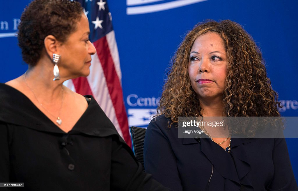 Lucia McBath (R), faith and community outreach leader for Everytown for Gun Safety, speaks with Debbie Allen (L)about gun violence and the death of her son Jordan Davis, at the Center for American Progress event 'Debbie Allen On Arts and Lived Experience: Race, Violence, And Access To The American Dream' on October 24, 2016 in Washington, DC.