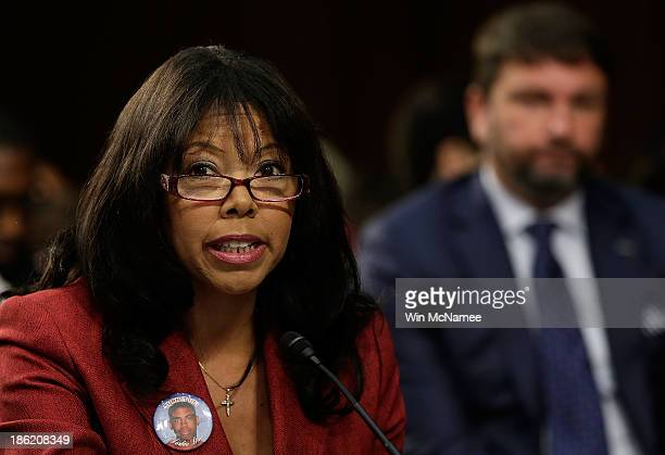 Lucia McBath of Atlanta Ga mother of Jordan Davis testifies during a Senate Judiciary Committee hearing on Stand Your Ground laws October 29 2013 in...