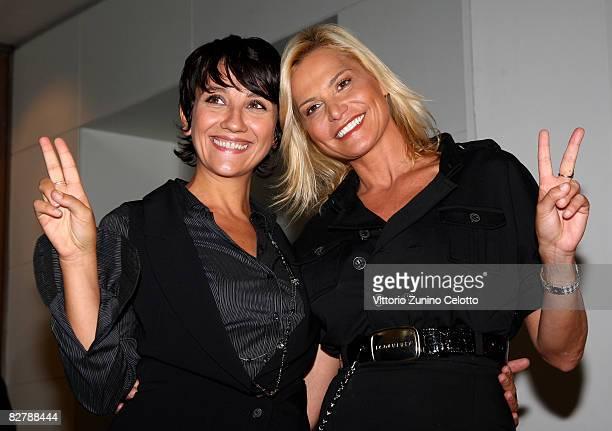 Lucia Ocone and Simona Ventura attend Quelli che il calcio Press Conference held at Sheraton Diana Majestic Hotel on September 12 2008 in Milan Italy