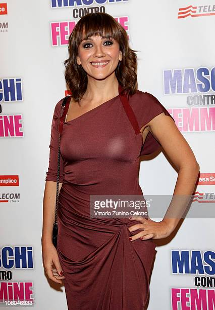 Lucia Ocone attends the Maschi Contro Femmine Premiere held at Cinema Odeon on October 25 2010 in Milan Italy