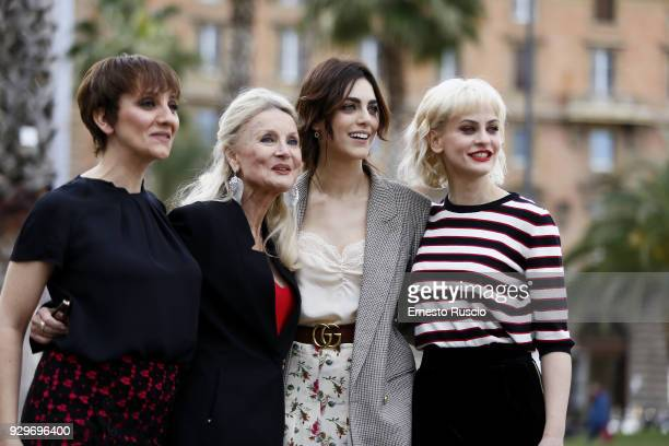 Lucia Ocone Barbara Bouchet Miriam Leone and Marina Rocco attend a photocall for 'Metti La Nonna Nel Freezer' at Piazza Cavour on March 9 2018 in...