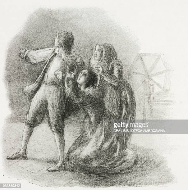 Lucia on her knees begging Renzo, and consenting to the surprise wedding, illustration by Gaetano Previati , from The Betrothed, A Milanese story of...