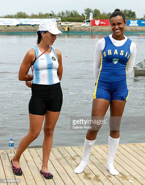 Lucia Palermo from Argentina and Kissya Cataldo Da Costa from Brazil celebrates after qualifying for London 2012 during the women's Single Scull...