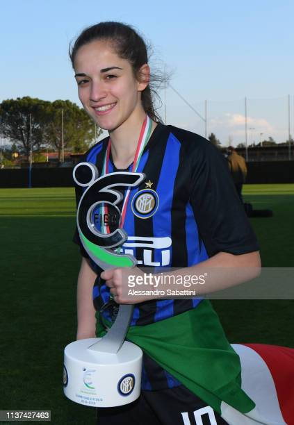 Lucia Pastrenge of FC Internazionale U19 Women celebrates celebrates the victory with the trophy after the Serie A Primavera Final Four first place...