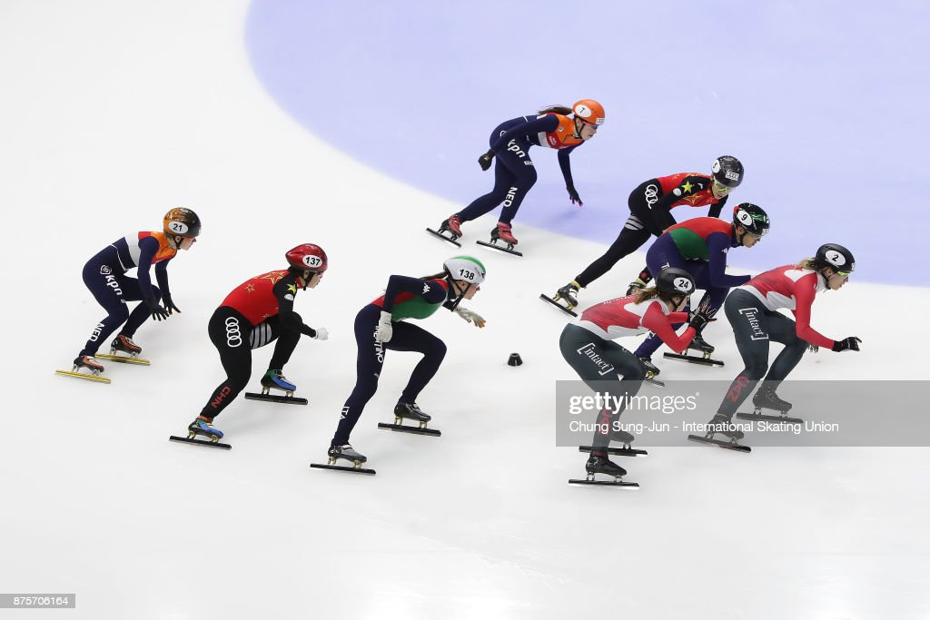 Lucia Peretti and Cecilia Maffei of Italy, Jamie Macdonald and Kasandra Bradette of Canada, Yihan Guo and Yutong Han of China and Rianne de Vries and Lara van Ruijven of Netherlands compete in the Ladies 3000m Relay Semifinals during the Audi ISU World Cup Short Track Speed Skating at Mokdong Ice Rink on November 18, 2017 in Seoul, South Korea.