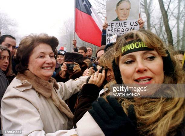 Lucia Pinochet wife of former Chilean dictator Augusto Pinochet meets supporters 21 January after they had gathered near the property that she and...