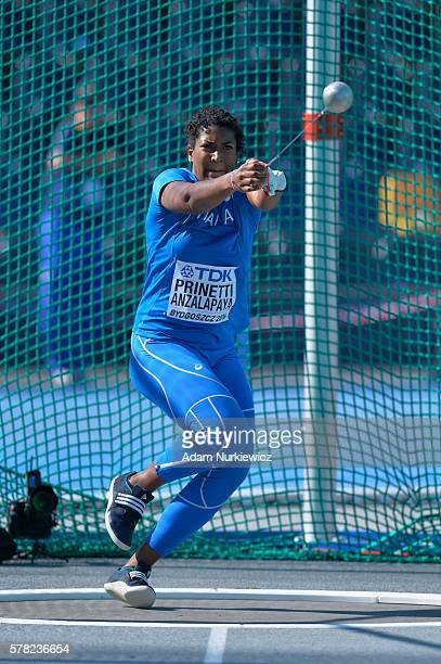 Lucia Prinetti Anzalapaya from Italy competes in women's hammer throw qualification during the IAAF World U20 Championships at the Zawisza Stadium on...