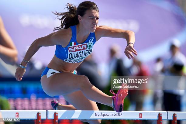 Lucia Quaglieri from Italy competes in the 100m hurdles during the women's hepthatlon competition during day 1 of European Athletics U23...
