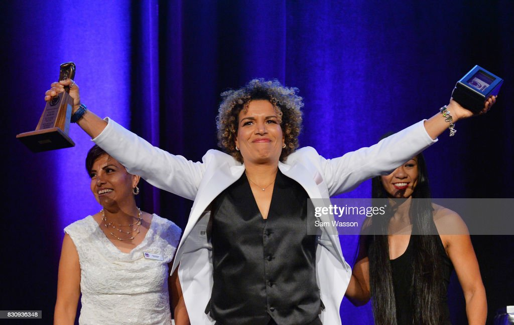 Lucia Rijker poses for a photo as she is inducted into the Nevada Boxing Hall of Fame at the fifth annual induction gala at Caesars Palace on August 12, 2017 in Las Vegas, Nevada.