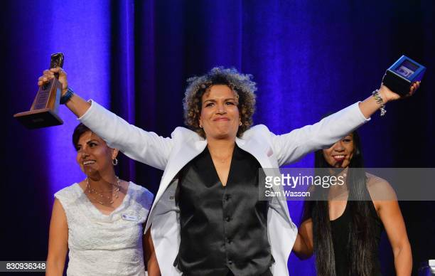 Lucia Rijker poses for a photo as she is inducted into the Nevada Boxing Hall of Fame at the fifth annual induction gala at Caesars Palace on August...