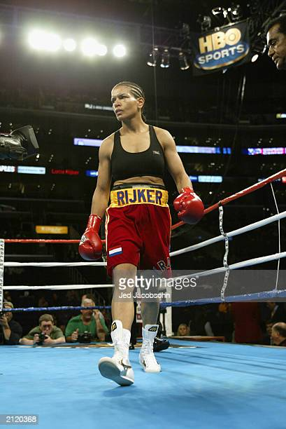 Lucia Rijker walks in the ring during the women's light welterweight bout against Jane Couch at the Staples Center on June 21 2003 in Los Angeles...