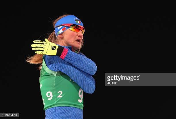Lucia Scardoni of Italy reacts during the Ladies' 4x5km Relay on day eight of the PyeongChang 2018 Winter Olympic Games at Alpensia CrossCountry...