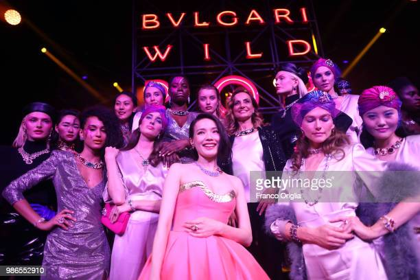 Lucia Silvestri and models after the runway BVLGARI Dinner Party at Stadio dei Marmi on June 28 2018 in Rome Italy