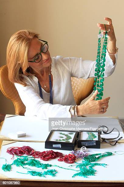 Lucia Silvestri creative director at Bulgari is photographed evaluating Bulgari jewelry for Le Figaro on February 15 2016 in Jaipur India CREDIT MUST...