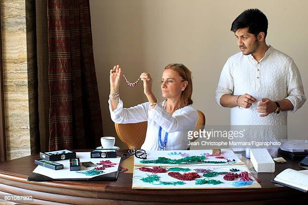 Lucia Silvestri creative director at Bulgari is photographed evaluating Bulgari jewelry with Monsieur R for Le Figaro on February 15 2016 in Jaipur...