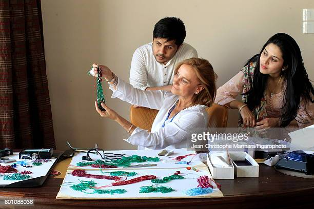Lucia Silvestri creative director at Bulgari is photographed evaluating Bulgari jewelry with Monsieur R and wife for Le Figaro on February 15 2016 in...