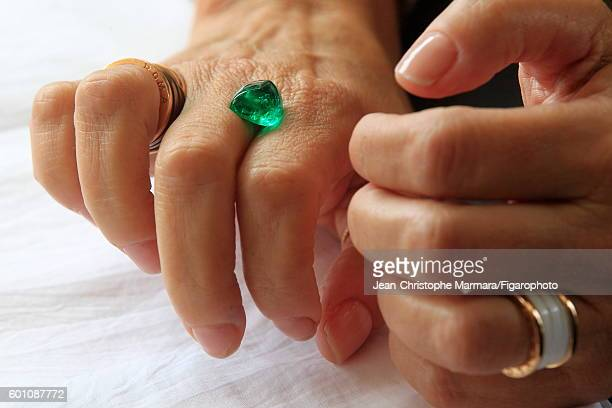 Lucia Silvestri creative director at Bulgari is photographed evaluating emeralds for Le Figaro on February 15 2016 in Jaipur India CREDIT MUST READ...