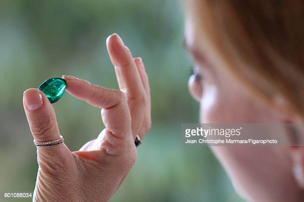 Lucia Silvestri creative director at Bulgari is photographed evaluating gemstones for Le Figaro on February 15 2016 in Jaipur India CREDIT MUST READ...