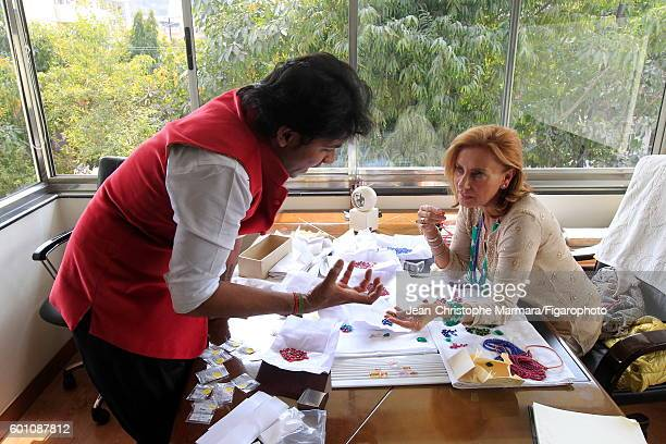 Lucia Silvestri creative director at Bulgari is photographed evaluating gems for Le Figaro on February 15 2016 in Jaipur India CREDIT MUST READ...