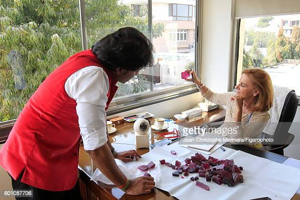 Lucia Silvestri creative director at Bulgari is photographed evaluating uncut gems for Le Figaro on February 15 2016 in Jaipur India CREDIT MUST READ...