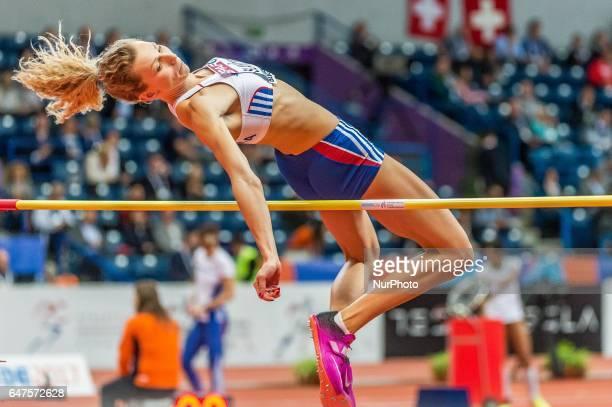 Lucia Slaniková Slovakia at high jump under Pentathlon for women at European athletics indoor championships in Belgrade on March 3 2017