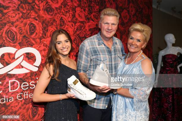 Lucia Strunz , Stefan Effenberg and his wife Claudia Effenberg during the charity shopping night at CE design store on May 31, 2017 in Munich,...