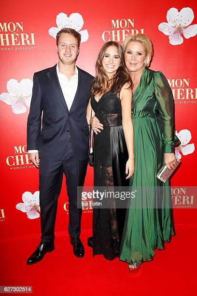 Lucia Strunz with her boyfriend Gabo and her mother Claudia Effenberg attend the Mon Cheri Barbara Tag at Postpalast on December 2, 2016 in Munich,...