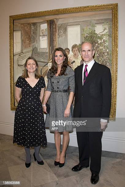 Lucian Freud Portraits exhibition curator Sarah Howgate Catherine Duchess of Cambridge and National Portrait Gallery Director Sandy Nairne as they...