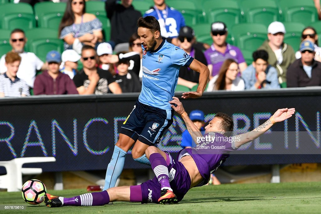 Lucian Goian of the Glory attacks the ball during the round 24 A-League match between Perth Glory and Sydney FC at nib Stadium on March 26, 2017 in Perth, Australia.