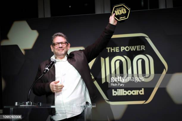 Lucian Grainge stands on stage at the 2019 Billboard Power 100 on February 7 2019 in Los Angeles California
