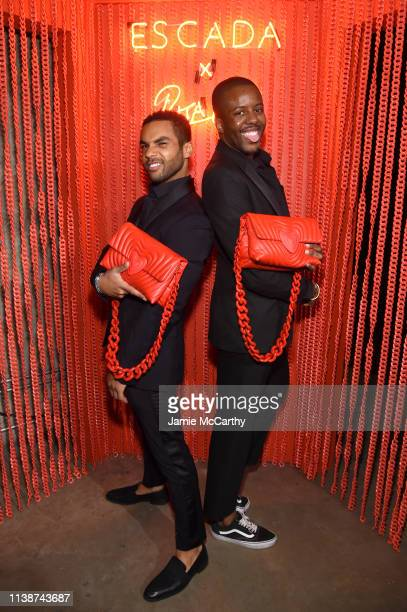 Lucian Laviscount and Vas Morgan attend the launch of the ESCADA Heartbag by Rita Ora on March 27 2019 in New York City