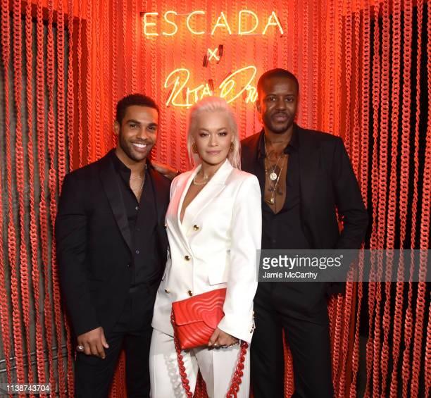 Lucian Laviscount Rita Ora and Vas Morgan attend the launch of the ESCADA Heartbag by Rita Ora on March 27 2019 in New York City