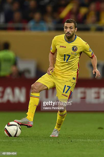 Lucian Sanmartean of Romania in action during the UEFA EURO 2016 Qualifier between Romania and Finland on October 8 2015 in Bucharest Romania