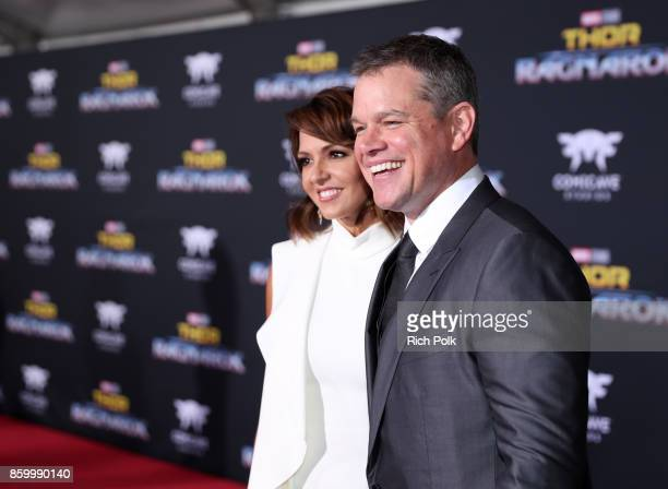 Luciana Barroso and actor Matt Damon at The World Premiere of Marvel Studios' Thor Ragnarok at the El Capitan Theatre on October 10 2017 in Hollywood...
