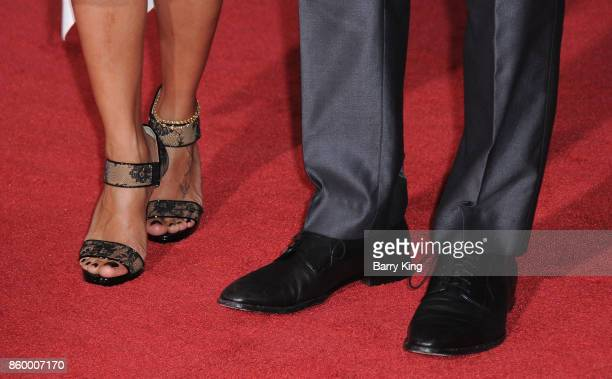 Luciana Barroso and husband actor Matt Damon shoe detail attend the world premiere of Disney and Marvel's 'Thor Ragnarok' at El Capitan Theatre on...
