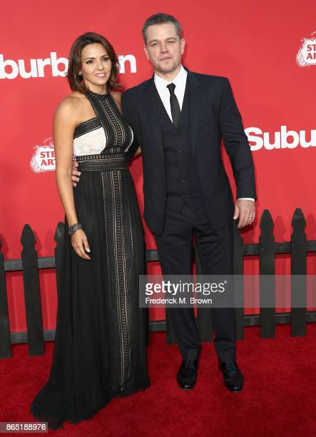 """Luciana Barroso and Matt Damon at the Premiere of Paramount Pictures' """"Suburbicon"""" at Regency Village Theatre on October 22, 2017 in Westwood,..."""