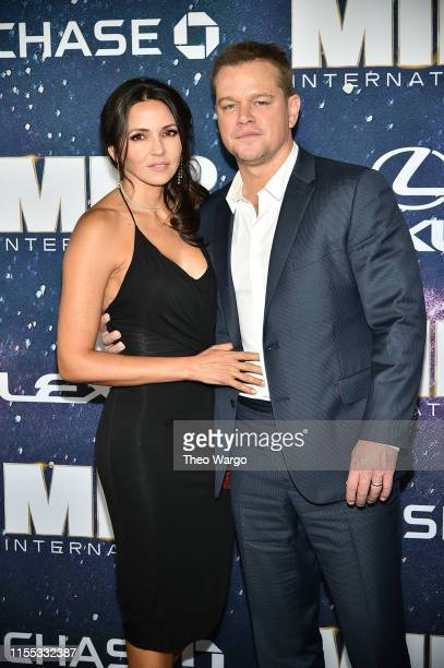 "Luciana Barroso and Matt Damon attend ""Men In Black International"" World Premiere at AMC Loews Lincoln Square 13 on June 11, 2019 in New York City."